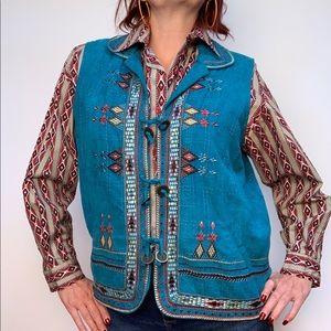 Vintage 1970s Aztec Hippie Embroidered Vest